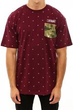 Crooks & Castles The Thieves Knit Pocket T-shirt in Burgundy NWT Crooks