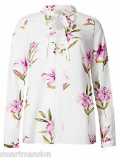 New Ladies ex M&S Blouse Ivory Print V-Neck Long Sleeve Top Size 10-20 RRP £35