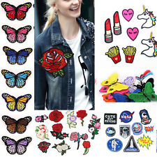 Sew Iron On Patches Badge Bag Flower Cartoon Applique Embroidered Craft Dress