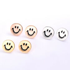 Womens jewelry yellow Gold filled  Cute Smile Classic Silver Ear Stud Earrings