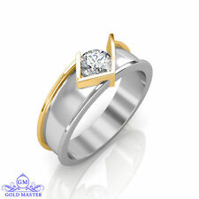 2.50ct Round Cut White Simulated Diamond Two Tone Gold Excellent Wedding Band