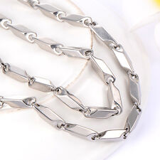 Mens jewelry stainless steel silver chain necklace Fit dog tag Punk size 3-5mm
