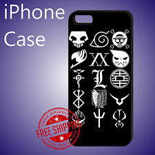 Anime Logo Character Anime Black Case Cover iPhone 8 7+ 7 6s+ 6+ SE 5c 5s se #ED