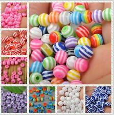 6MM 100PCS  style acrylic Multicolor stripes Beads Round Charms interval Beads