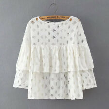 Fashion New Women Elegant Lace Hollow Out Ruffle Short Blouse NEW151