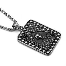 Retro Crystal Stainless Steel Skull Poker A Heart Pendant Necklace Mens Jewelry