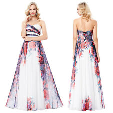 Strapless Flower Pattern Chiffon Ball Gown Wedding Evening Prom Party Dress
