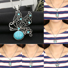 Women Silver Plated Turquoise Pendant Jewelry Butterfly Chain Fashion Necklace