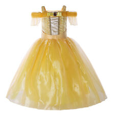 Girl Princess Belle Party Fancy Dress Beauty and the Beast Kid Costume Halloween