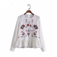 Women Flower Embroidery Cotton Long Sleeve Ruffles Pleated O Neck Blouse