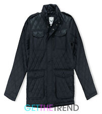 Mens Brave Soul Padded Quilted Diamond Effect Collared Zipped Jacket Coat S-XL