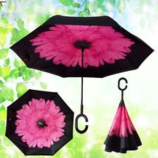 NEW C-Shaped Hands free Handle Double Layer Inverted Windproof Folding Umbrella