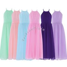 Chiffon Girls Scoop Neck Wedding Pageant Party Princess Formal Long Dresses 4-14