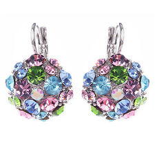 Women Colorful Zircon Silver Tone Eardrop Earrings Wedding Party Jewelry Clever