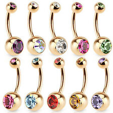 1Pcs Gold Crystal Rhinestone Belly Button Ring Navel Body Piercing Jewelry Gift