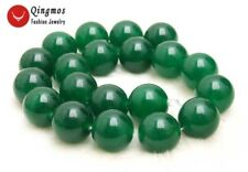 Huge 20mm Green Round High Quality Natural jade Loose Beads strand 15''-los744