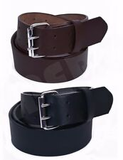 MEN'S LEATHER BELT Double Hole (100% GENUINE LEATHER) Black / Brown 30'' to 64''