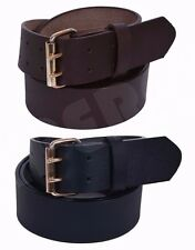 MEN'S LEATHER BELT (100% GENUINE LEATHER) DOUBLE HOLE Black/Brown Size Available