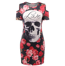 Hot style fashion slim skull roses printing package buttocks women mini dress