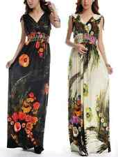 Women's Maxi long floral print pattern sexy double deep V-neck Tall extra dress