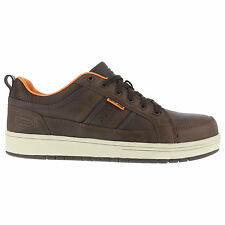 Iron Age Mens Brown Leather Work Shoes Board Rage Steel Toe