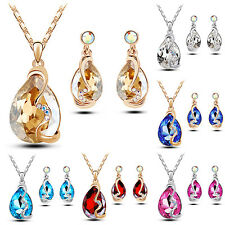Women Waterdrop Pendant Rhinestone Inlaid Necklace Earrings Jewelry Set Clever