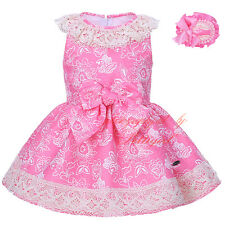 Flower Girl Dress with Headband 2PCS Toddler Lace Bow Wedding Princess Party NEW