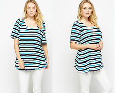 NEW Spring Multi Stripe TOP PLUS SIZE Curve 30-32 LOOK evans yours be very