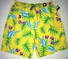 NWT Tommy Hilfiger Swim Shorts Floral Trunks M Yellow Bathing Suit Men`s New
