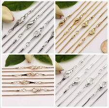 5Pcs Gold Silver White K Snake Chain Lobster Clasp Necklace Jewelry Finding 43CM