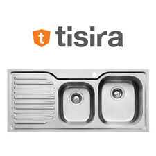 Tisira 108cm Stainless Steel 1.5 Bowl Living Edge Sink with Drainer