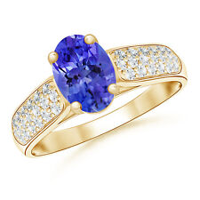 Solitaire Oval Tanzanite Ring with Pave Diamond 14K Yellow Gold/Platinum
