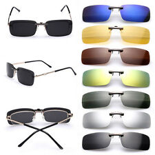 Driving Glasses Sunglasses Polarized Clip On Flip-up Day Night Vision Lens UV400