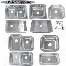 Kitchen Sink Top/Under Mount Single/Double Bowls Stainless Steel 3-4 Faucet Hole