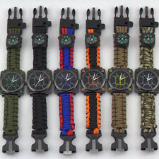 Outdoor Camping Paracord 550 Watch Survival Bracelet With Compass Flint Whistle
