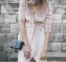 ZARA New Nude Pink Cream Wrap Crossover Velvet Dress Sold Out 0594/167 M