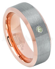 Rose Gold Tungsten Ring, 0.07ct Peridot Solitaire Ring,August Birthstone #742