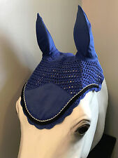 Royal Blue Horse Bonnets | Fly Veil | with Bling