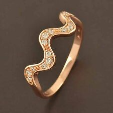 Delicate 9K Rose Gold plated Flawles Top clear crystal Wave Ring size 7 8