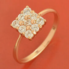 Noble 9K Rose Gold plated Flawless clear crystal Womens Ring Size 6 7 8 9