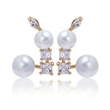 Korean Jewelry 18K Gold plated White Pearl CZ Stud Earrings Unique