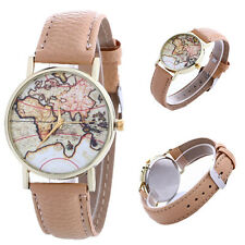 Leather Strap Gifts 1Pcs Quartz Students Watches Casual World Map Lovers Fashion