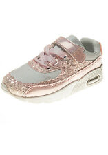 New Girls Children Glitter Lace Up Velcro Trainers Pink, Silver, Gold 25-36