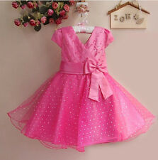 Flower Girl Bow Dots Dress Kid Toddler Princess Wedding Pageant Party Tulle Gown