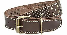 DIESEL Coffee Begely Studded Leather Belt Sz 80 & 85 CM $348 NWT Made In Italy