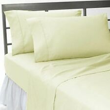 4 PC Bed Sheet Set 1200 Thread Count Egyptian Cotton US-Size Ivory Solid