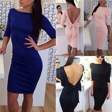 Summer Women Sexy Slim Backless Bowknot Party Dress Fashion Club Cocktail Dress