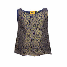 Girls Sleeveless Top Gold Party Kids Wedding Floral Summer Lined Cami 3 4 Years