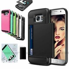 Card Pocket Wallet Case Screen Protector Accessory For Samsung Galaxy S7 S8 S8+