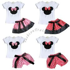 Baby Girls Kid Cartoon Minnie Mouse Bowknot T-Shirt Tops+Skirt/Shorts Outfit Set